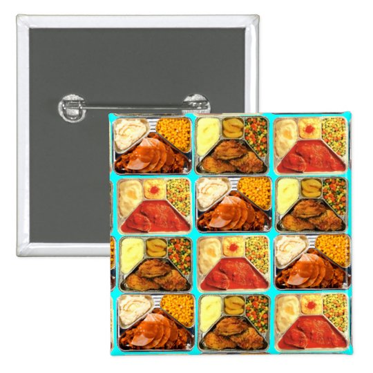 Retro Novelty TV Dinners Trays Pinback Button