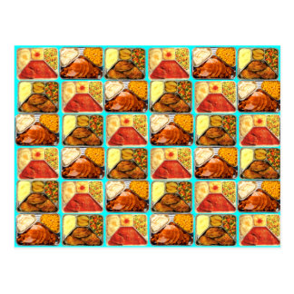 Retro Novelty TV Dinners Trays Post Card