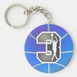 Retro Number 3 Basketball Keychain