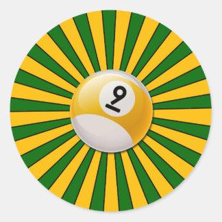 RETRO NUMBER 9 BILLIARDS BALL CLASSIC ROUND STICKER