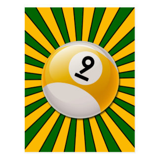 RETRO NUMBER 9 BILLIARDS BALL POSTCARD