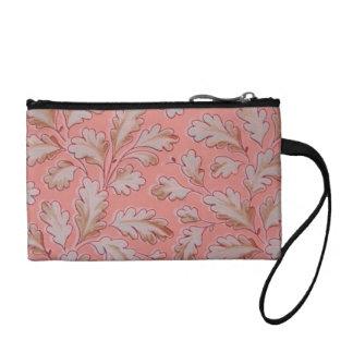 Retro Oak Leaf Peach Sage Bagettes Key Coin Bag