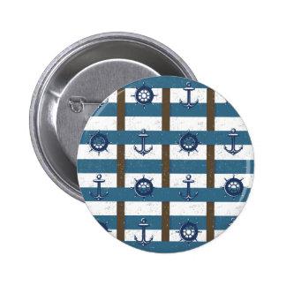 Retro Ocean and Sea Nautical Anchor brown Blue 2 Inch Round Button