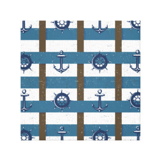 Retro Ocean and Sea Nautical Anchor brown Blue Canvas Print