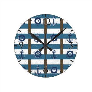 Retro Ocean and Sea Nautical Anchor brown Blue Round Wallclocks