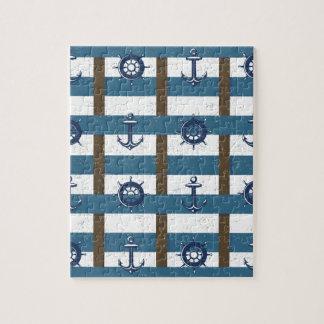 Retro Ocean and Sea Nautical Anchor brown Blue Jigsaw Puzzle