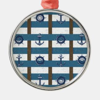 Retro Ocean and Sea Nautical Anchor brown Blue Round Metal Christmas Ornament