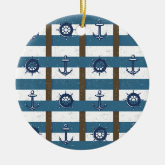 Retro Ocean and Sea Nautical Anchor brown Blue Double-Sided Ceramic Round Christmas Ornament