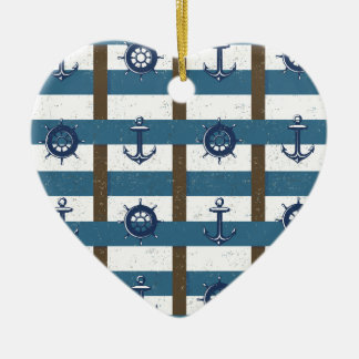 Retro Ocean and Sea Nautical Anchor brown Blue Double-Sided Heart Ceramic Christmas Ornament