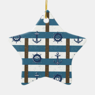 Retro Ocean and Sea Nautical Anchor brown Blue Double-Sided Star Ceramic Christmas Ornament