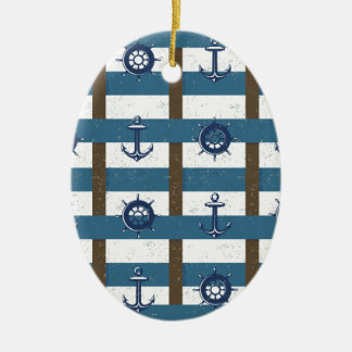Retro Ocean and Sea Nautical Anchor brown Blue Double-Sided Oval Ceramic Christmas Ornament