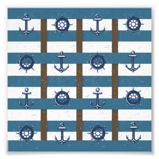 Retro Ocean and Sea Nautical Anchor brown Blue Photo Print