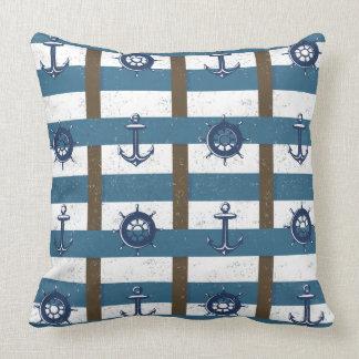 Retro Ocean and Sea Nautical Anchor brown Blue Pillow
