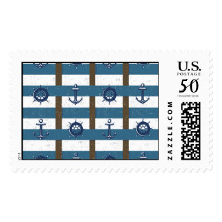 Retro Ocean and Sea Nautical Anchor brown Blue Postage