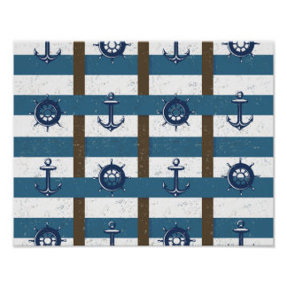 Retro Ocean and Sea Nautical Anchor brown Blue Poster