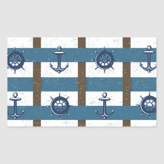Retro Ocean and Sea Nautical Anchor brown Blue Rectangular Sticker