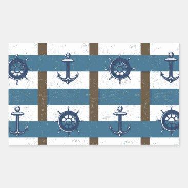 jurassic_world Retro Ocean and Sea Nautical Anchor brown Blue Rectangular Sticker
