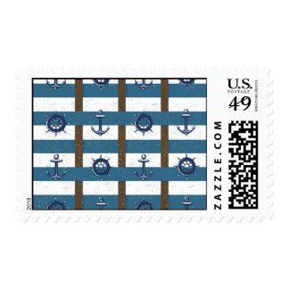 Retro Ocean and Sea Nautical Anchor brown Blue Stamp