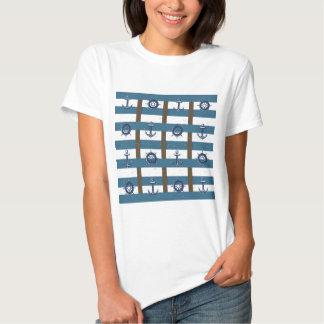 Retro Ocean and Sea Nautical Anchor brown Blue T Shirt