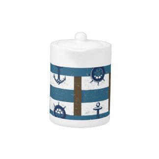 Retro Ocean and Sea Nautical Anchor brown Blue