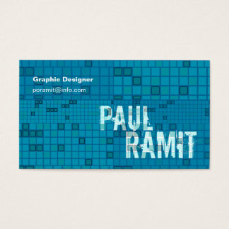 Retro Ocean Blue Mosaic Eye Catching Business Card