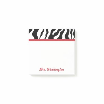 Professional Business Retro Office Zebra Teacher's Post It Notes Gift