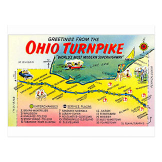 Retro Ohio Turnpike postcard
