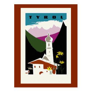 Retro oil pastel drawing Tyrol Austria travel Postcard