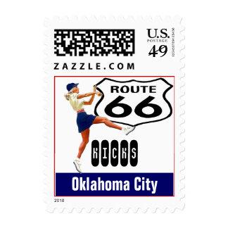 Retro Oklahoma City Kick Travel Route 66 Vintage Postage Stamp
