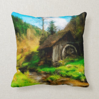 Retro Old Mill In Mountain Valley On Small River Throw Pillow
