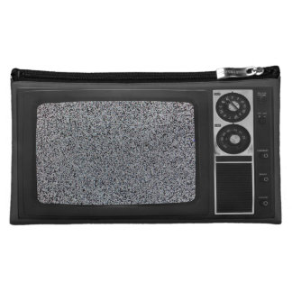 Retro Old TV with Static Screen Case Cover Makeup Bag