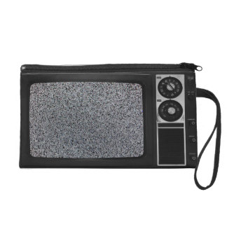 Retro Old TV with Static Screen Case Cover Wristlet