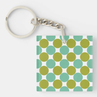 Retro Olive and Green Dots Keychain