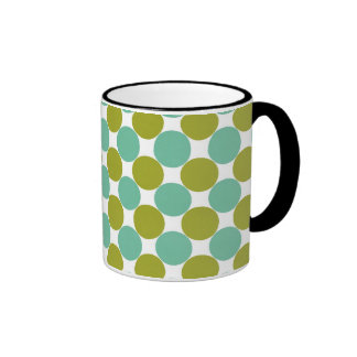Retro Olive and Green Dots Coffee Mugs