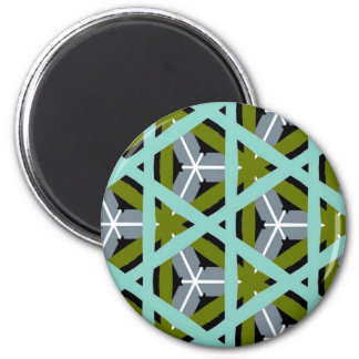 Retro Olive Green Gray Cyan Design Magnets