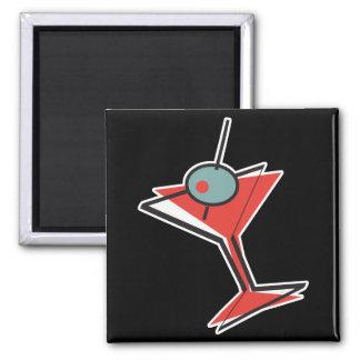 retro olive martini 2 inch square magnet