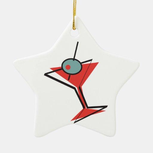 retro olive martini Double-Sided star ceramic christmas ornament