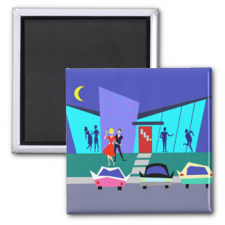 Retro Open House Party Magnet 2 Inch Square Magnet
