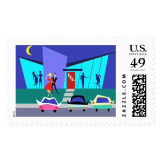 Retro Open House Party Postage Stamps