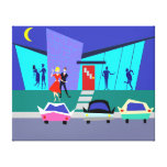 Retro Open House Party Stretched Canvas Print
