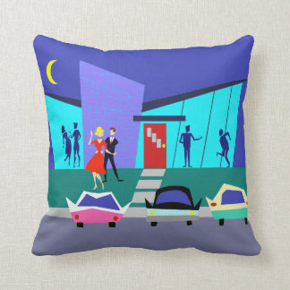 Retro Open House Party Throw Pillow