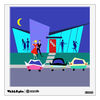 Retro Open House Party Wall Decal