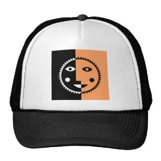 Retro Orange Abstract Sun Trucker Hat