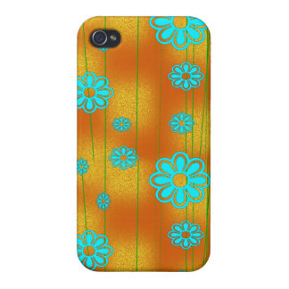 Retro Orange and Aqua iPhone 4 Case