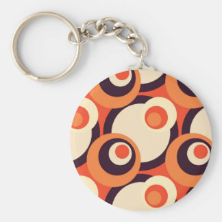 Retro Orange and Brown Fifties Abstract Art Basic Round Button Keychain