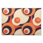 Retro Orange and Brown Fifties Abstract Art Cloth Place Mat