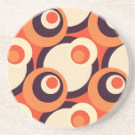 Retro Orange and Brown Fifties Abstract Art Beverage Coaster