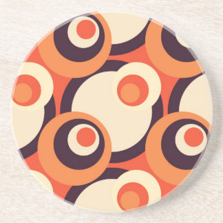 Retro Orange and Brown Fifties Abstract Art Drink Coaster