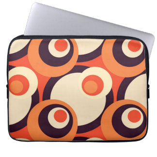 Retro Orange and Brown Fifties Abstract Art Laptop Sleeve