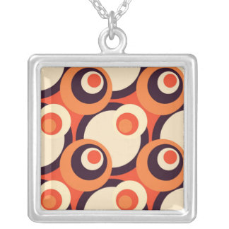 Retro Orange and Brown Fifties Abstract Art Square Pendant Necklace